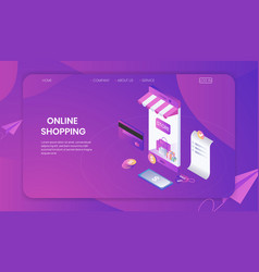online shopping on smartphone store concept vector image