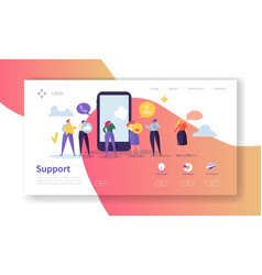 online technical support landing page template vector image