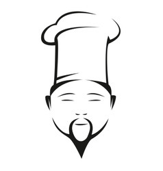 Oriental chef in a traditional white toque vector image