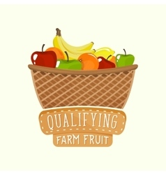 Painted logo design of full fruit basket with vector image