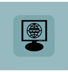 Pale blue global network monitor vector