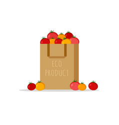 paper bag package with fresh red yellow tomato vector image
