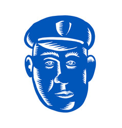 Police officer head woodcut vector