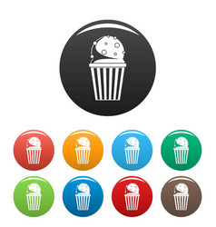 popcorn icons set color vector image