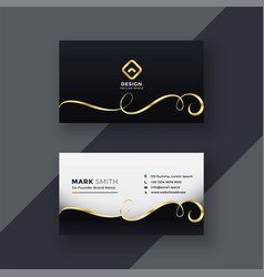 Premium business card design in dark theme vector