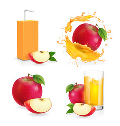 realistic apple juice splash drinking glass vector image