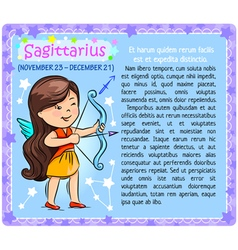 Sagittarius zodiac kid vector