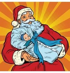 Santa Claus with a newborn boy vector