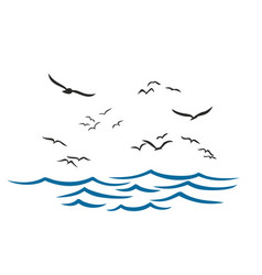 Sea with seagulls vector