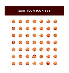 set emotion icon with flat style design vector image