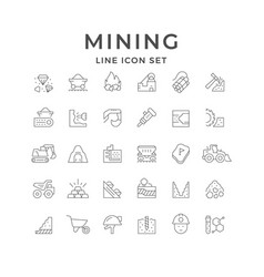 set line icons mining industry vector image