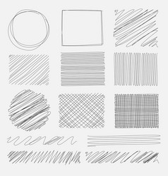 set of line grunge brushes textures vector image