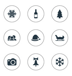 Set of simple christmas icons vector