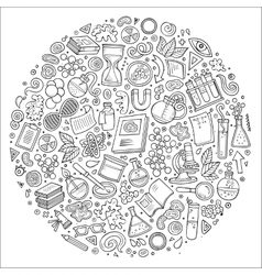 Set science cartoon doodle objects vector