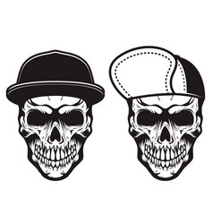 set skulls in baseball caps in monochrome vector image