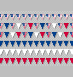 set usa bunting flags in traditional colors vector image