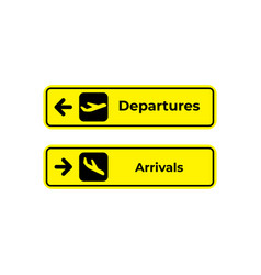 Signs arrivals and departures at airport vector