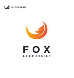 Simple fox and moonlight logo design vector