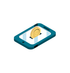 Smartphone coin money online shopping isometric vector