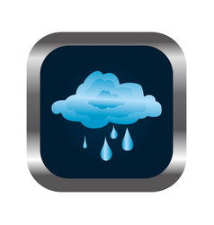 Square button with relief and rainy cloud vector