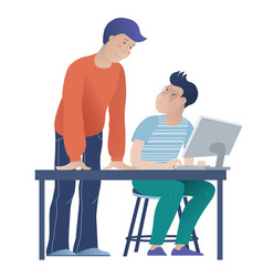 Student and teacher at computer science lesson vector