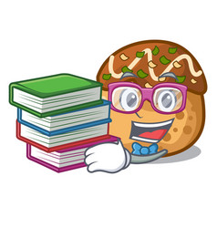 Student with book takoyaki shape in balls a vector