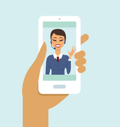 support chat on smartphone screen close up vector image