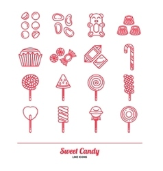 Sweet Candy Flat Icon Set vector