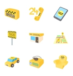 Taxi order icons set cartoon style vector