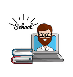 teacher with class online to student knowledge vector image