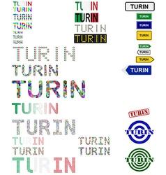 Turin text design set vector