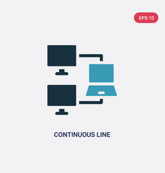 two color continuous line icon from networking vector image