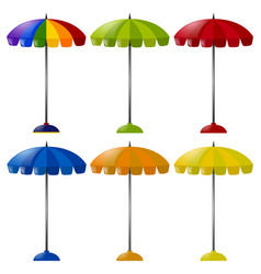 umbrella in six different colors vector image