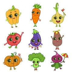 Vegetables Cartoon Characters Set vector image