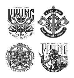 Viking vintage prints vector
