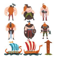 Vikings with ancient weapon set medieval male and vector