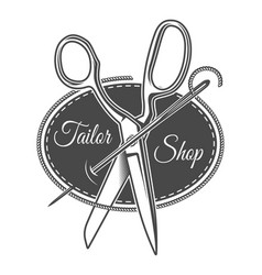 vintage monochrome tailor shop logotype vector image