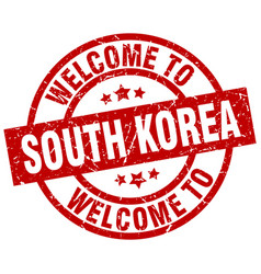 welcome to south korea red stamp vector image