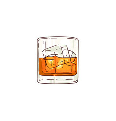 whiskey or rum glass sketch icon vector image