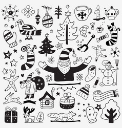 Winter doodles set vector
