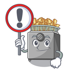 With sign cartoon deep fryer in the kitchen vector