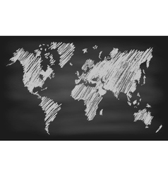 World Map Contour Chalkboard Blackboard vector image