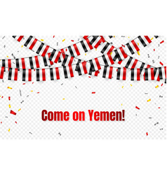 yemen flags garland on transparent background vector image