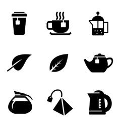 black tea icons set on white background vector image