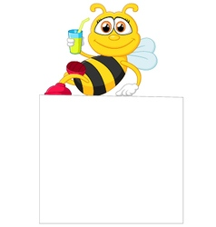 Cartoon bee holding blank sign vector image vector image