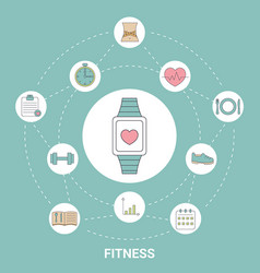 smart watch with fitness icons smart watch with vector image