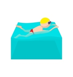 Butterfly swimmer cartoon icon vector image