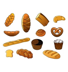 Cartoon different kinds of bread and pastries vector image