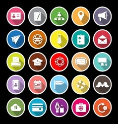 Contact connection flat icons with long shadow vector image