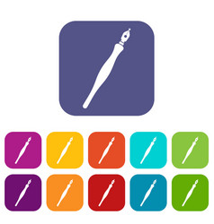 fountain pen icons set flat vector image vector image